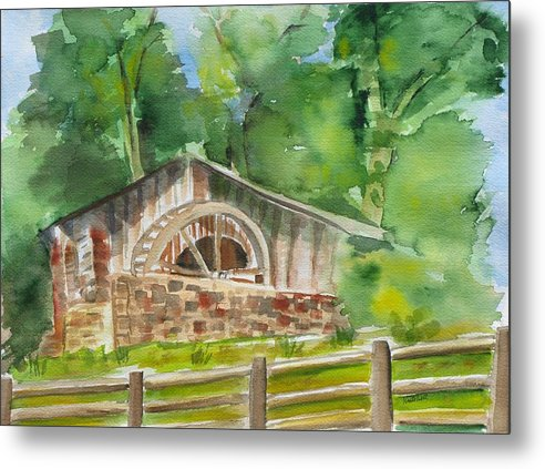 Landscape Metal Print featuring the painting The Old Mill by Kathy Mitchell
