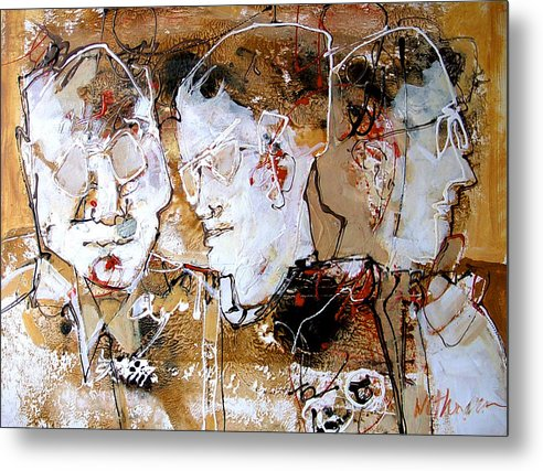 Figures Metal Print featuring the painting Three Advisors by Dale Witherow