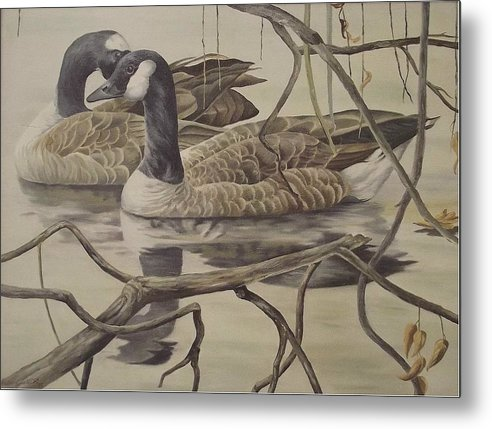 Water Metal Print featuring the painting A Pair Of Ducks by Wanda Dansereau