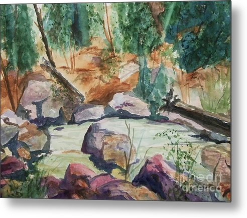 Jemez Metal Print featuring the painting Bridge To The Hot Springs by Ellen Levinson