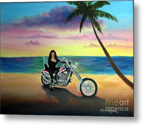 Harley Davidson Metal Print featuring the painting Captain America by Lora Duguay