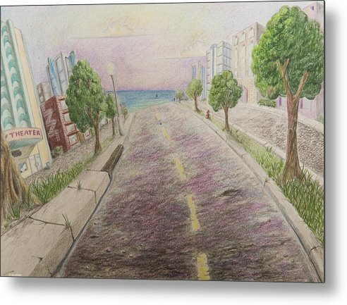 Miami Art Deco Animation Background Cartoon Landscape Metal Print featuring the painting Deco Drive by Brenda Salamone