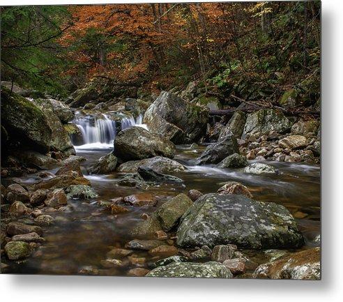 Roaring Brook Metal Print featuring the photograph Roaring Brook - Sunderland Vermont Autumn Scene by Thomas Schoeller