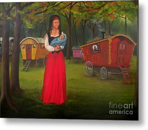 Mother And Child Metal Print featuring the painting Romany Mother And Child by Lora Duguay