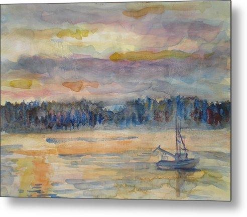 Alaska Metal Print featuring the painting Alaskan Fishing Boat Sunrise by Joyce Kanyuk