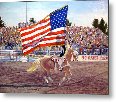 American Flag Southwestern Horse Cowboy Tucson Rodeo Metal Print featuring the painting American Beauty by John Watt