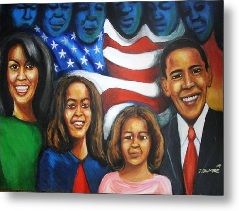 White House Metal Print featuring the painting America's First Family by Jan Gilmore