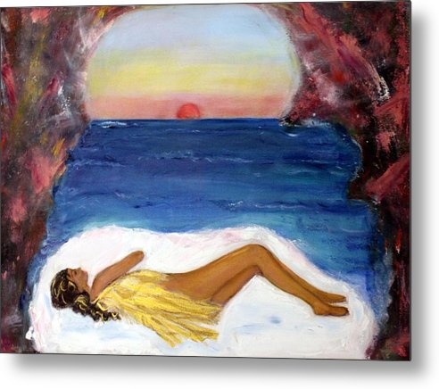 Landscape Metal Print featuring the painting Angel Sleeping by Michela Akers