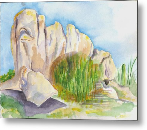 Landscape Metal Print featuring the painting Arboretum Rocks by Kathy Mitchell