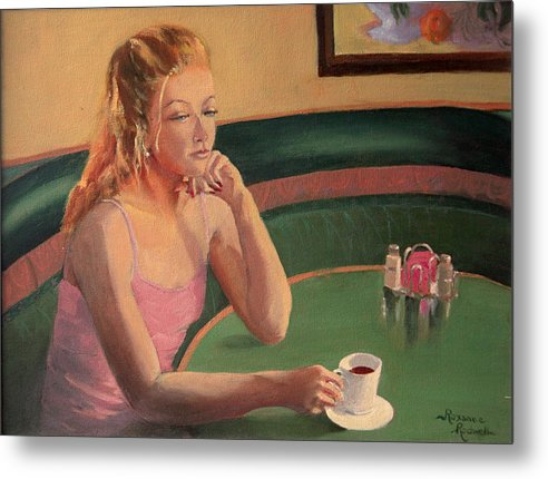Figure Metal Print featuring the painting Coffee And Contemplation by Roxanne Rodwell