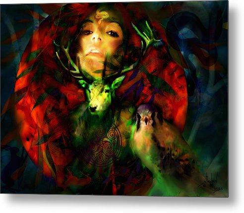 Spiritual Metal Print featuring the digital art Dianas Blood Moon by Stephen Lucas