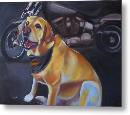 Yellow Labrador Retreiver Painting Metal Print featuring the painting George And The Harley by Kaytee Esser