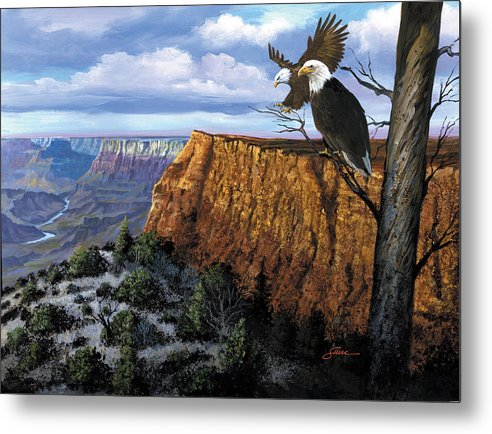 Grand Canyon Metal Print featuring the painting Grand Canyon Lookout by Harold Shull