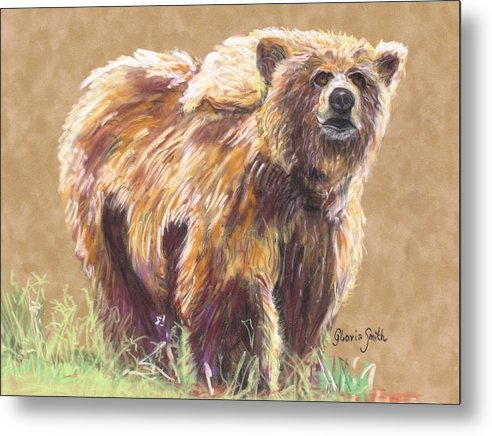 Alaskan Animal Metal Print featuring the painting Healthy Brown Bear by Gloria Smith