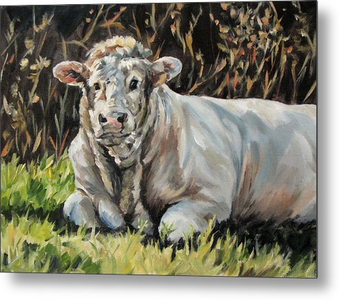 Cattle Metal Print featuring the painting Idyll Moment by Cheryl Pass