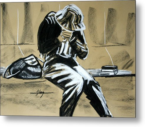 Figure Metal Print featuring the painting Just Sitting by John Cox