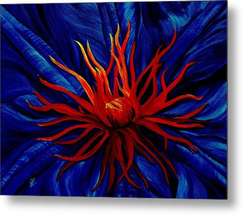 Macro Metal Print featuring the painting Orange Tango by Julie Pflanzer