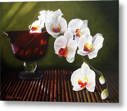 Floral Metal Print featuring the painting Orchid Cascade by Colleen Brown