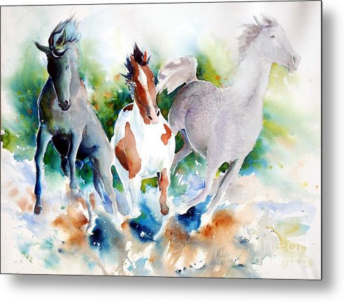 Horses Metal Print featuring the painting Out Of Nowhere by Christie Michelsen