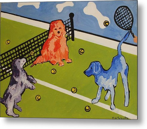 Tennis Metal Print featuring the painting Yours by Nancy Henkel Schulte