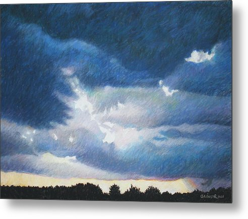 Cloudscape Metal Print featuring the painting Somewhere The Sun Is Shining by Gainor Roberts