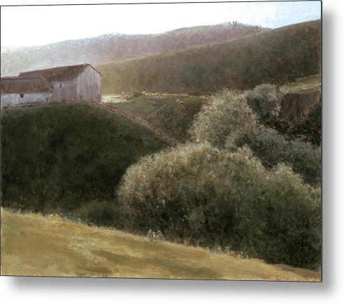 Landscape Metal Print featuring the painting Sunrise Central California by Laura Wynne