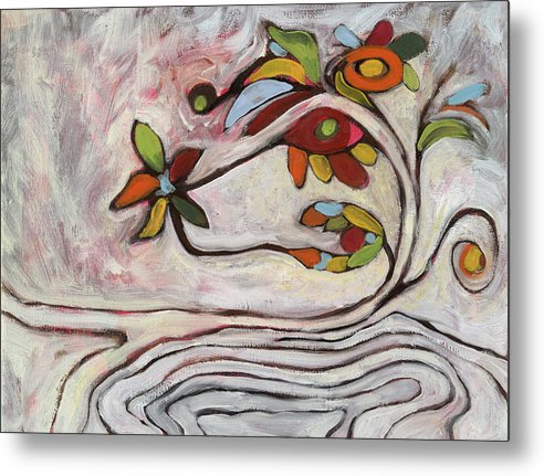 Abstract Metal Print featuring the painting Weeds1 by Michelle Spiziri