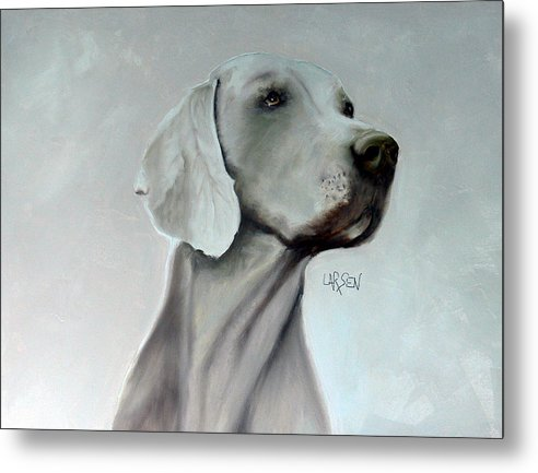 Metal Print featuring the painting Weimaraner by Dick Larsen