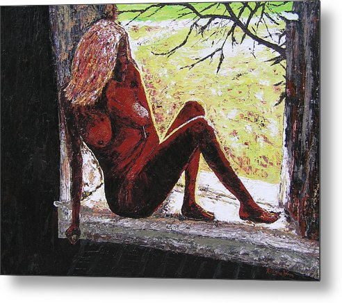 Portrait Metal Print featuring the painting Window View by Ricklene Wren