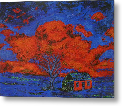 House Metal Print featuring the painting Reflections Of The Storm by Ricklene Wren