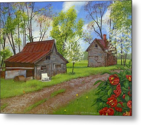 Landscape Metal Print featuring the painting The White Bench by Peter Muzyka