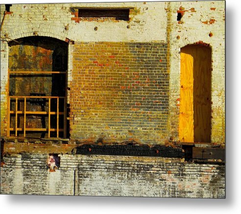 Abandoned Buildings Metal Print featuring the photograph Barred Entries by Karen Bibbo-Lord