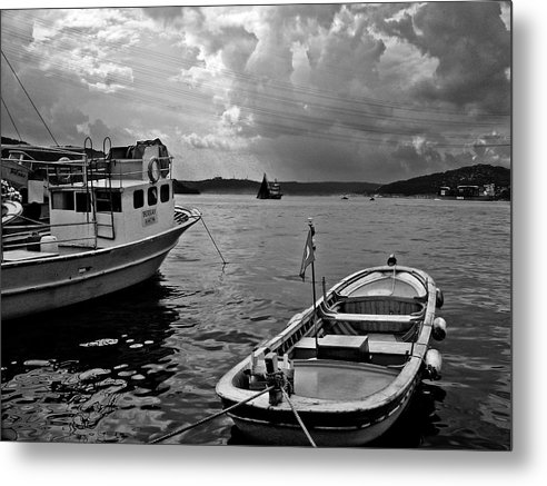 Turkey Metal Print featuring the photograph Boats On Bosphorus by Erdal Oskay