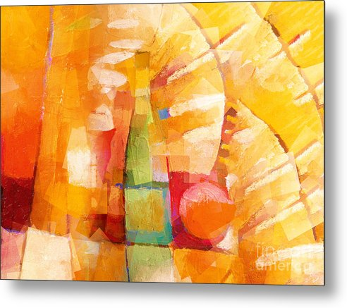 Bottle Cubic Metal Print featuring the painting Bottle Cubic by Lutz Baar