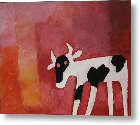 Little White Cow Metal Print featuring the painting Little White Cow by Lutz Baar