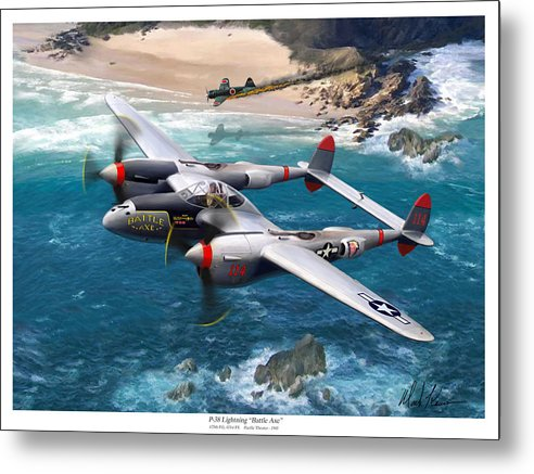 Airplanes Metal Print featuring the painting P-38 Lightning Battle Axe by Mark Karvon