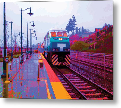 Abstract Metal Print featuring the digital art T Is For Train by James Kramer