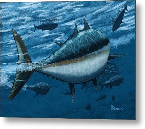 Tuna Metal Print featuring the digital art The Chase by Kevin Putman