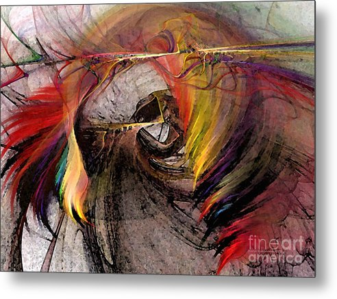 Abstract Metal Print featuring the digital art The Huntress-abstract Art by Karin Kuhlmann
