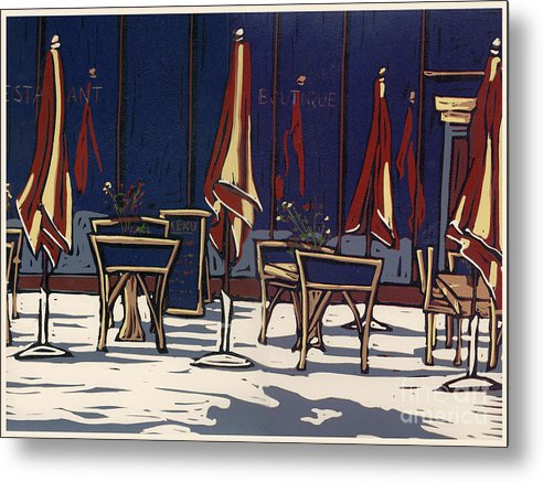 Limited Edition Metal Print featuring the painting Sidewalk Cafe - Linocut Print by Annie Laurie