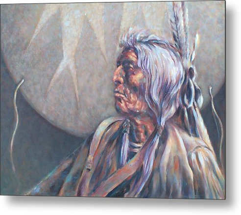 Old Indian Metal Print featuring the painting I Was Young Once by Don Trout