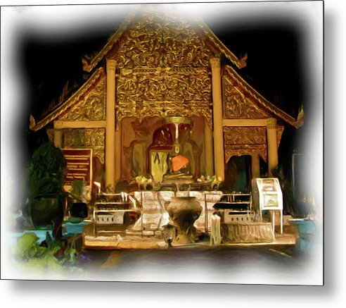 Buddhism Metal Print featuring the painting A Temple Night 1 by Bates Clark