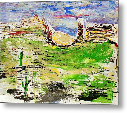Cactus Metal Print featuring the painting Arizona Skies by J R Seymour