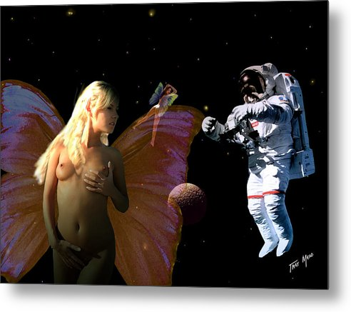 Space Metal Print featuring the painting Astronaut And The Fairies by Tray Mead