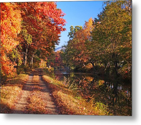 Autumn Metal Print featuring the photograph Autumn Along The Canal by Paul R Sell Jr