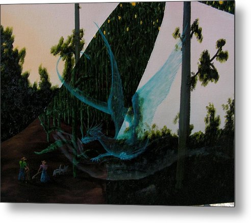 Dragon. Surreal Impressionism Metal Print featuring the painting Blue Dragon-detail by Ivan Rijhoff