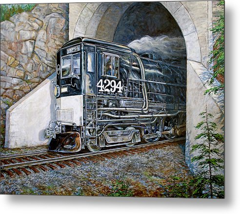 Train Metal Print featuring the painting Cab Forward by Gary Symington