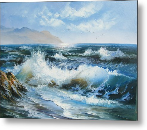 Seascape Metal Print featuring the painting Dancing Seagulls by Imagine Art Works Studio