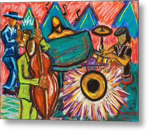 Jazz Metal Print featuring the painting Fusion by Albert Almondia