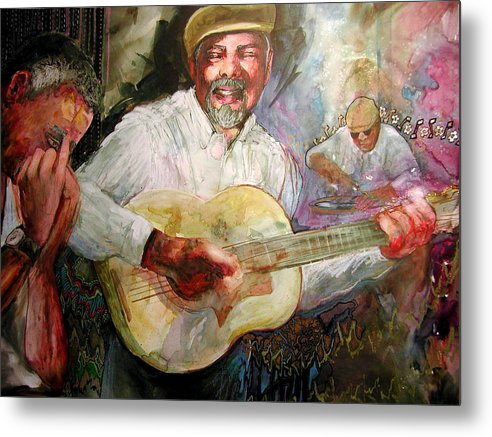 Music Metal Print featuring the painting Jazz Men In Phoenix by Wendy Hill